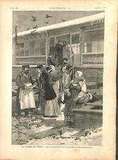 Marchands de poissons sur la Néva pour le Carême en Russie GRAVURE 1894