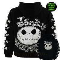 The Nightmare Before Christmas NBC Glow In the Dark Jack Adult  Hoodie S M L XL