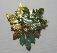 Vintage Signed KC Green Enamel Gold Tone Maple Leaf Leaves Pine Cone Jade Brooch