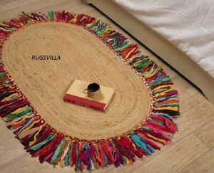 Rug Braided style 100% Natural jute & cotton oval rugs vintage home decor Carpet