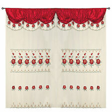 """Wine Red Room Decor Embroidery Sheer Valence Window Curtain Drapes 60x90+18"""""""