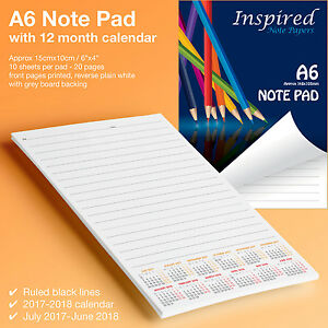 Notepad Notebook with Calendar ✔A6 Jotter Note Paper Scribble Pad Sketchpad - UK