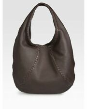 BOTTEGA VENETA $1,780 Cervo dark brown deerskin leather woven trim hobo handbag