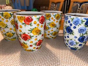 4 Sammlertasse Rosen-/Blumentassen Signatur: Barbara Schrowange - limitiert 🦅