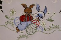 Easter Holiday Bunny Rabbit Egg Embroidered Tablecloth Placemat Runner Scarf