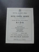 1955 AIDA VERDI ROYAL CHORAL SOCIETY ROYAL ALBERT HALL PROGRAMME
