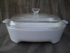 Corning Ware All White 1 1/2 Ltr. Browing Casserole Dish With Clear Glass Lid