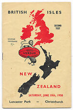 1950 - New Zealand v British Lions, 2nd Test Signed Match Programme.