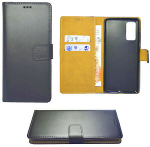 Genuine Leather Wallet Case Cover Black Tan Interior for Samsung Galaxy S20 FE