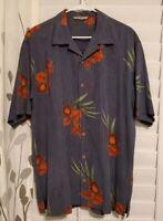 Tommy Bahama Mens Large Short Sleeve Floral Hawaiian Red/Blue Shirt Silk Tencil