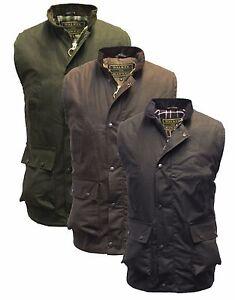 Wax Bodywarmer Waistcoat Gilet Waxed Countrywear Hunting S-5XL Olive Brown Navy