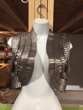 bebe Silver Vest Down Jacket Top Dressy Short Crop One Size shrug cocktail prom