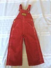 Vintage 80s Corduroy Washington Dee Cee 100% Cotton Bibs Kids 1T Cranberry Color