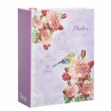 Arpan 6x4'' Small Purple Vintage Bird Slip In Case Photo Album 100 Photos AL9136