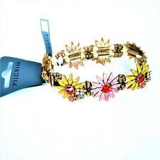 Pilgrim Bracelet Enamel Swarovski Crystals Floral Stretch Bracelet New with Tags