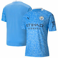 Puma Mens Manchester City Football Soccer Home Shirt Crew Neck 2020-21