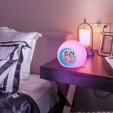 Kids Bedroom Clock Round Light Gradient Alarm Clock Time Thermometer Change Gift