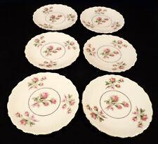 6 dessert plates deep pink roses green lvs emboss scallopd gold trim PMR Bavaria