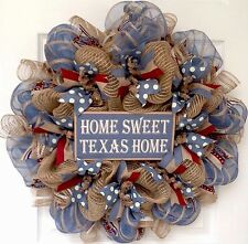 Home Sweet Texas Home Wreath Handmade Deco Mesh