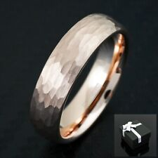 Rose Gold Tungsten Hammered Brushed Finish Wedding Band Ring 4mm or 6mm
