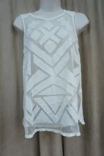 Lucky Brand Top Sz M Natural Beige Patchwork Sheer Mesh Linen Blend Tank Shirt