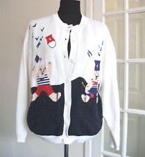 Vintage Rene Derhy The Cotton Collection Blue White Cotton Coat Size M