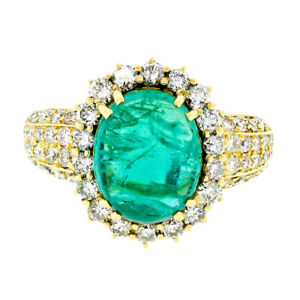 Vintage 18k Gold 11.08ctw AGL Oval Cabochon Emerald & Pave Diamond Cocktail Ring