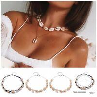 Bohemian Sea Shell Beaded Pendant Chain Choker Necklace Women Beach Jewelry