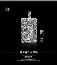 QUAN YIN CHARM NECKLACE 925 Sterling Silver Quan Guan Lucky Buddha Kwan Yin Art