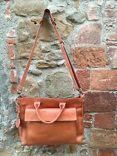 Leather Satchel Bag Front Pocket - Borsa a tracolla in pelle con tasca frontale
