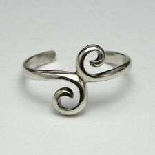 Solid 925 Sterling Silver Toe Ring Two Curls Design, Ladies New with Gift Bag