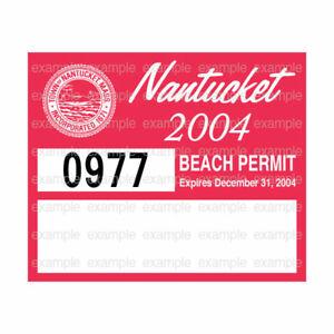 Nantucket Beach Permit Sticker Decal 2004 ACK