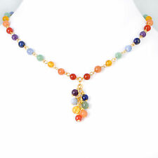Gemstone GOLD Tone Chain Necklace CLUSTER Pendant 7 Chakra Multicolor Reiki