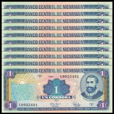 Lot 10 PCS, Nicaragua 1 Cordobas, 1995, P-179, UNC, Banknotes, Original