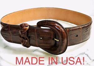 BRIGHTON Belt Faux Croc Wide Brown Leather Size Small Embossed Print EUC
