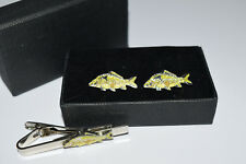 Mirror Carp Fish Cufflinks & Tie Clip Set Gift Boxed Novelty Fishing Wedding