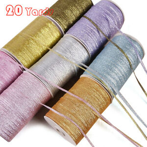 New 20 Yards (4mm) DIY Metallic Glitter Ribbons Christmas Packaging Gift Ribbon