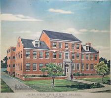 Historic Architectural Rendering Watercolor & Graphite Salem NJ Building Signed