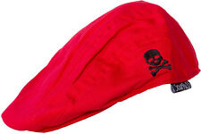 86360 Red Black Skull Crossbones Jeff Flat Cap Hat Sourpuss BABY INFANT SIZE