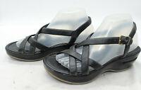 Cole Haan Womens Sz 7.5 Leather Black Summer Comfort Wedge Heel Ankle Strap