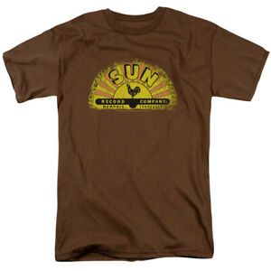 Sun Records Vintage Logo T Shirt Mens Licensed Rock Record Label Tee Coffee