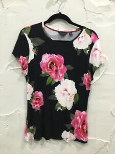 TED BAKER - Alanyo floral cap sleeve fitted T-SHIRT TOP...size 4  (14)