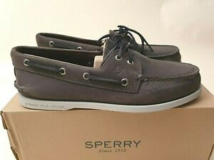 Sperry Top Sider A/O 2 Eye 'Varsity Grey' Leather (US10) boat shoe authentic