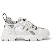 $980 GUCCI Flashtrek white leather suede canvas sneakers - 9 US / 42.5 / 8.5 UK
