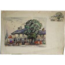 Senza Cornice Originale Royal bekshire Paesaggio dipinto ad Acquerello Albert Cooper
