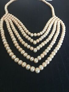 Genuine Honora fresh water 5 string Pearl necklace with sterling silver clasp