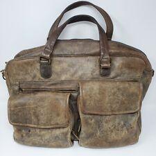 Vtg LL BEAN Brown Leather Laptop Messenger Bag Attache 16 X 12 Great Patina