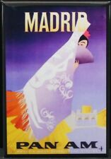"Madrid Travel Poster 2"" X 3"" Fridge / Locker Magnet. Spain Pan Am Air"