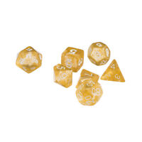 7pcs/Set TRPG Accs Dungeons Dragons Glitter D4-D20 Multi Side Dices - Yellow