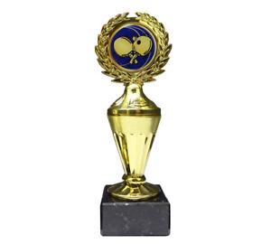 Tischtennis-Pokal mit blauem Emblem und Ihrer Wunschgravur (Biso1)